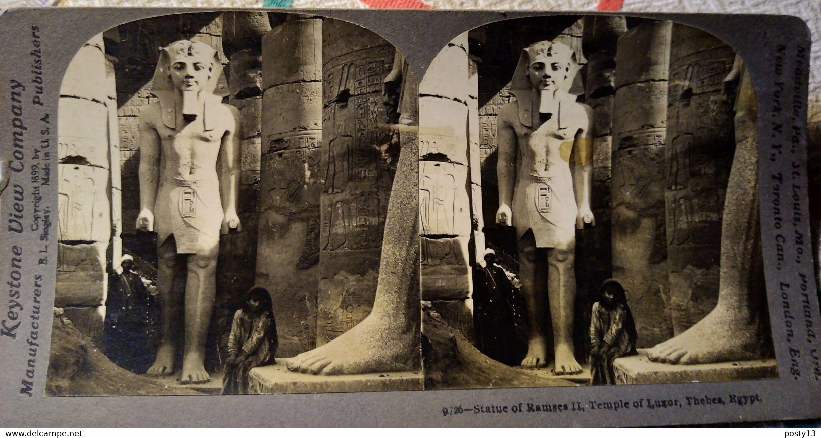 PHOTO STÉRÉO ÉGYPTE - Antique - Louxor - Statue De Ramsès II -  - 1899 - Ed. Keystone - BE - Stereoscopio