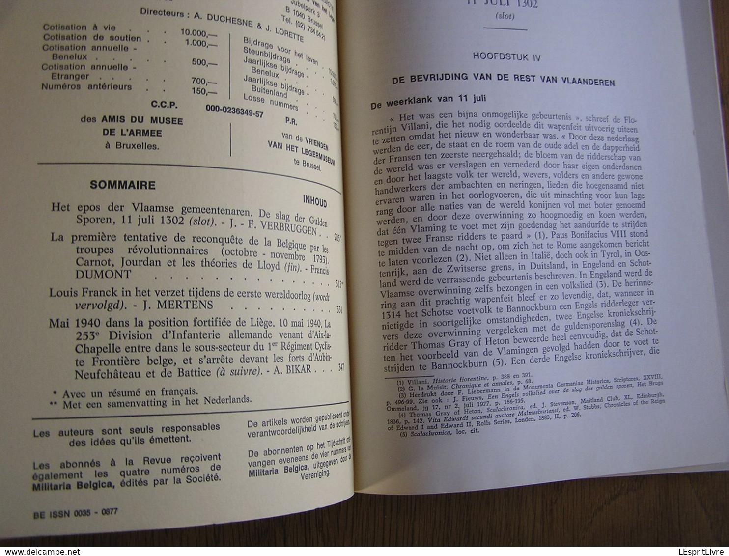 REVUE BELGE D' HISTOIRE MILITAIRE XXII 4 Carnot Beaumont Guerre 40 45 PFL Mai 40 253 Infanterie Moresnet Calamine Eupen - Oorlog 1939-45