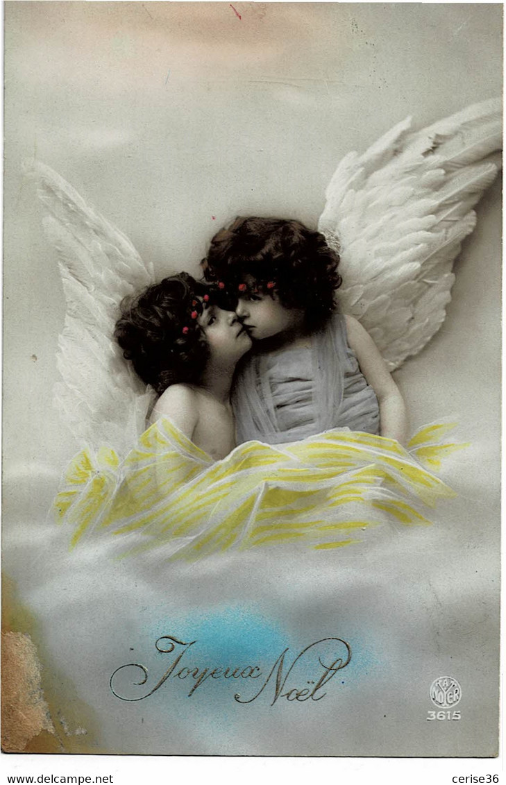 Deux Petits Anges Joyeux Noël A. Noyer N° 3615  Carte N° 9 - Angeles