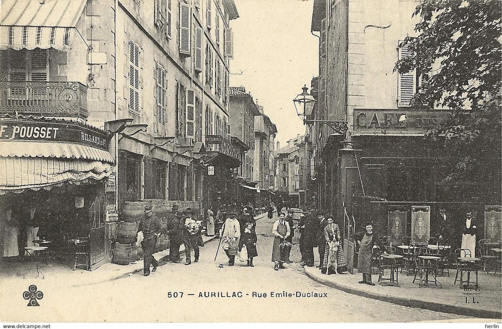 15 - AURILLAC - Rue Emile-Duclaux - Café-billard F. Pousset - Aurillac