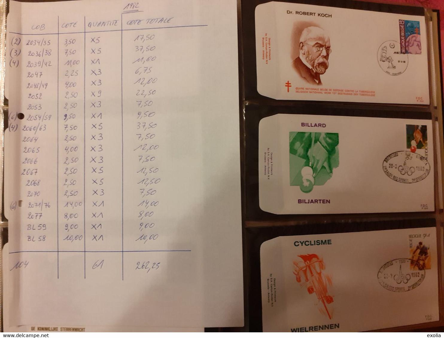 Collection Lot 9 Albums 1085 FDC Différents Belgique 1977 à 1986 Valeur 3000 Euros. Thèmes Royauté Europa Sports... Lire - Lots & Kiloware (mixtures) - Min. 1000 Stamps