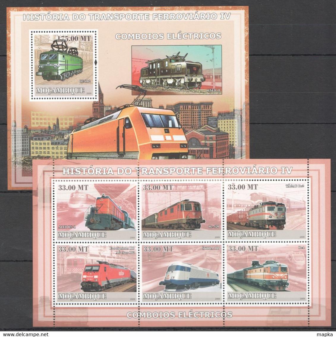XX616 2009 MOZAMBIQUE MOCAMBIQUE TRAINS HISTORIA DO FERROVIARIO 4 1SH+1BL MNH - Trains