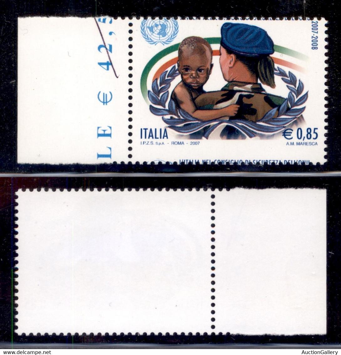 Repubblica - 2007 - 85 Cent Membro ONU (3005) - Dentellatura Orizzontale Spostata - Intestazione A Cavallo - Non Classificati