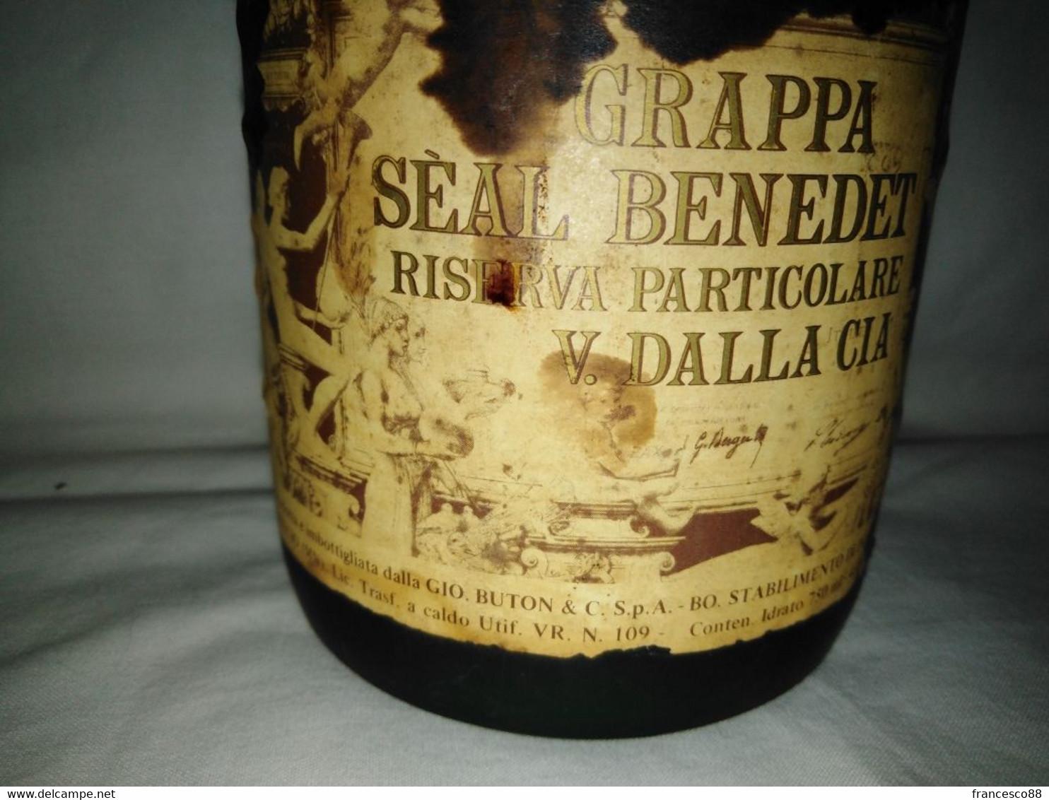 Bottiglia Grappa Seal Benedet  Dalla Cia  Vintage Invecchiata Anni 70  Da Collezione - Spirits