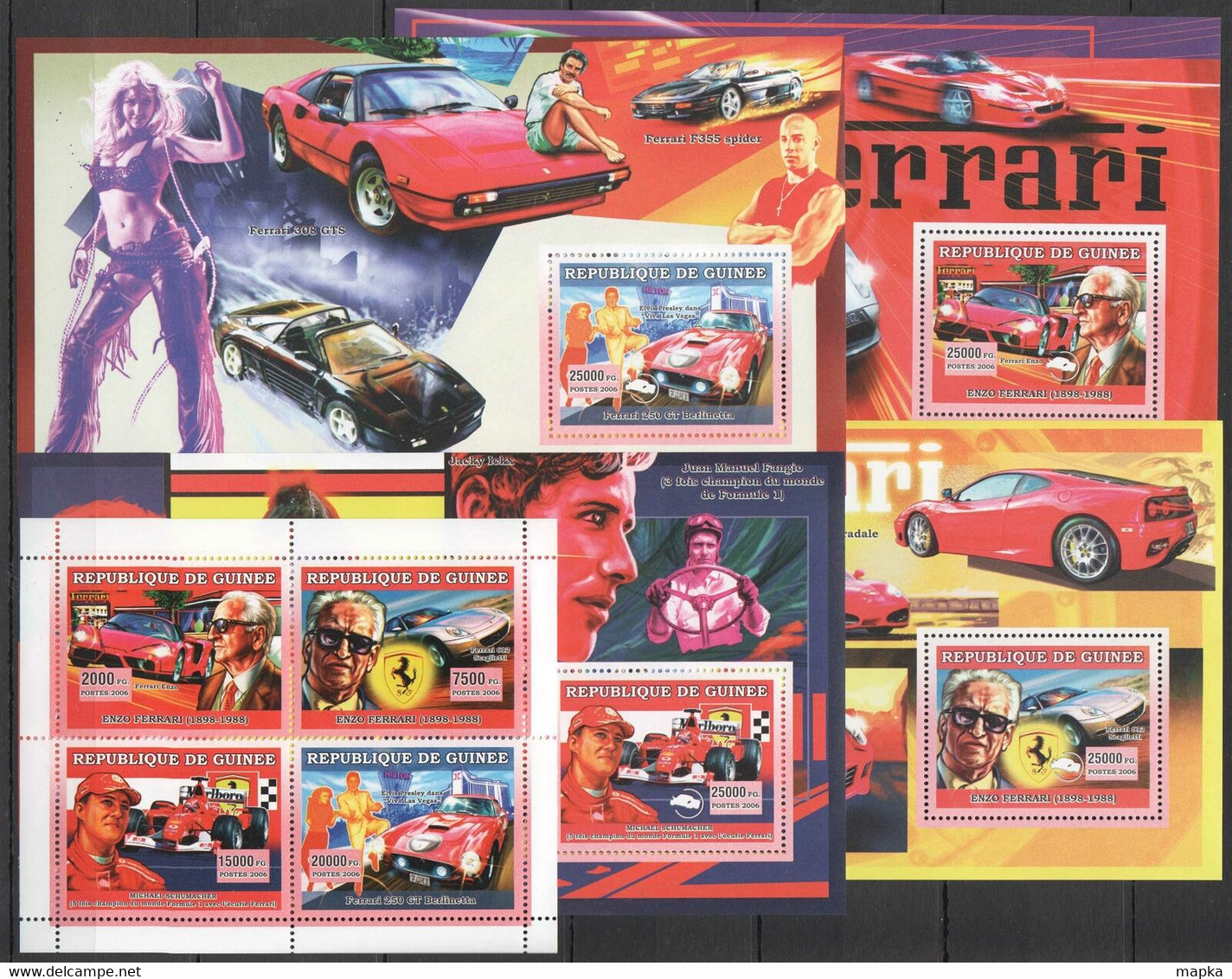 BC1399 2006 GUINEE GUINEA AUTOMOBILES CARS HISTORY FERRARI FORMULA 1 !!! 1KB+4BL MNH - Cars