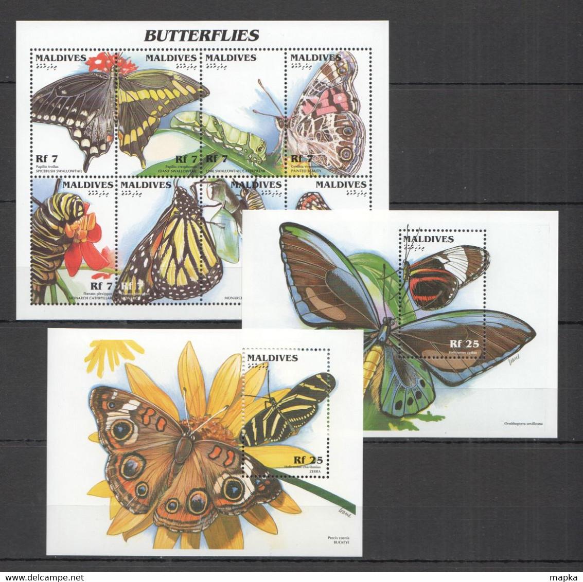 XX713 MALDIVES BUTTERFLIES INSECTS & FLOWERS FLORA & FAUNA !!! 1KB+2BL MNH - Mariposas