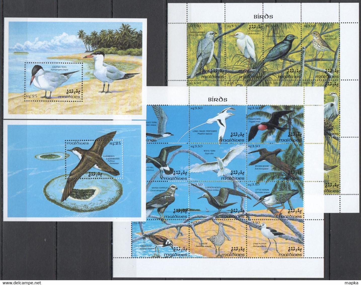 XX723 MALDIVES FAUNA MARINE LIFE BIRDS MICHEL 38 EURO 2KB+2BL MNH - Otros