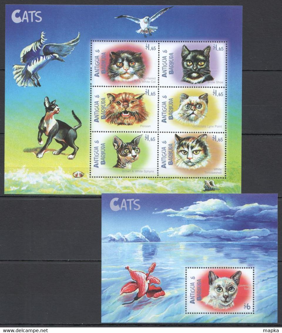 YY036 ANTIGUA & BARBUDA FAUNA PETS CATS #3142-47 MICHEL 16,5 EURO 1KB+1BL MNH - Gatos Domésticos