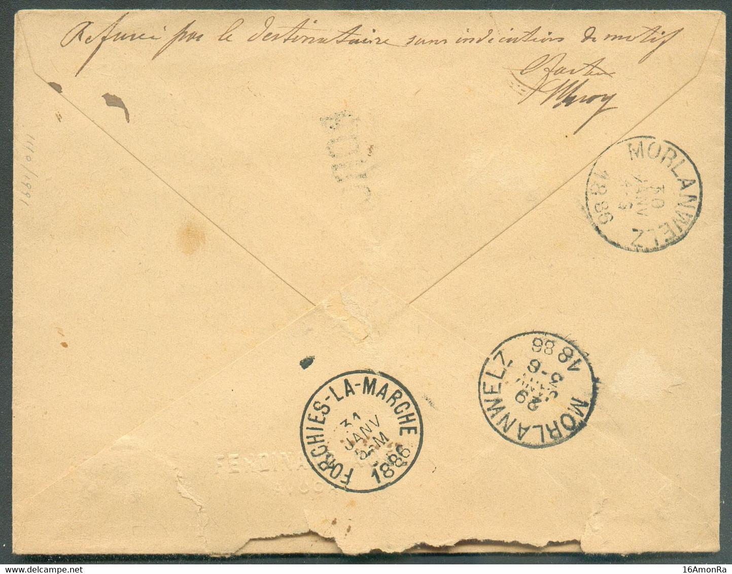 N°46-48 - 10 Et 25 Centimes Emission 1884, Obl. Sc FORCHIES-LA-MARCHE Sur Enveloppe Recommandée Du 29 Janvier 1886 Vers - 1884-1891 Leopoldo II