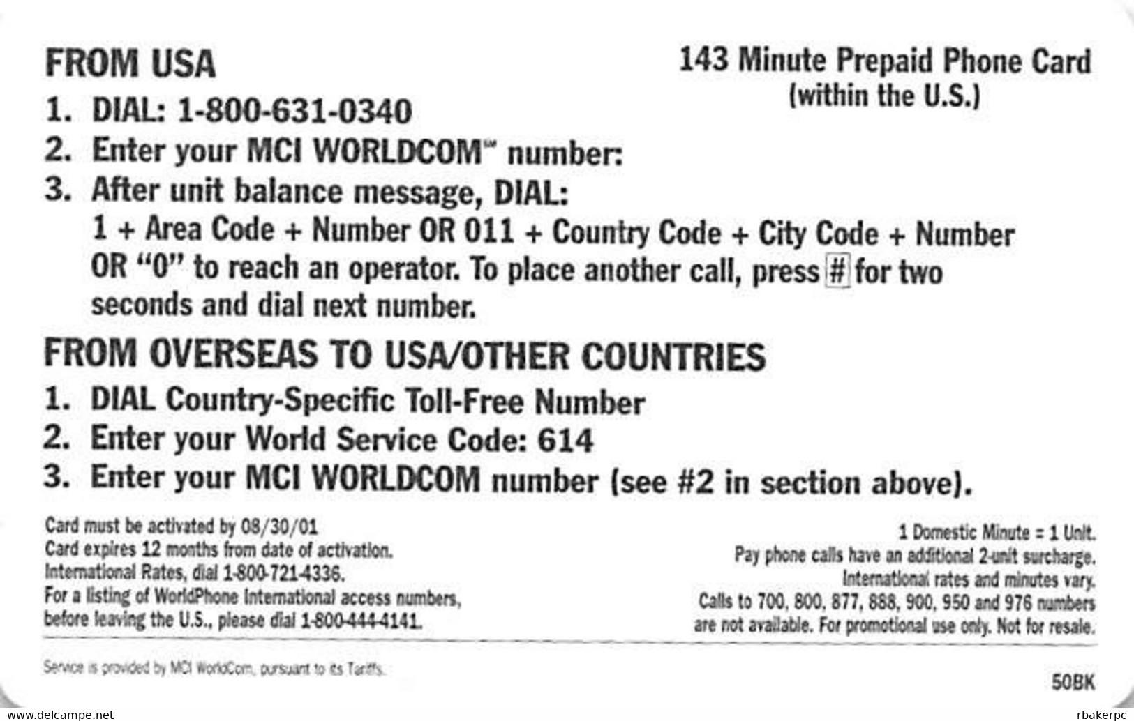 MCI Worldcom $50 Prepaid Calling Card - Telecom Operators