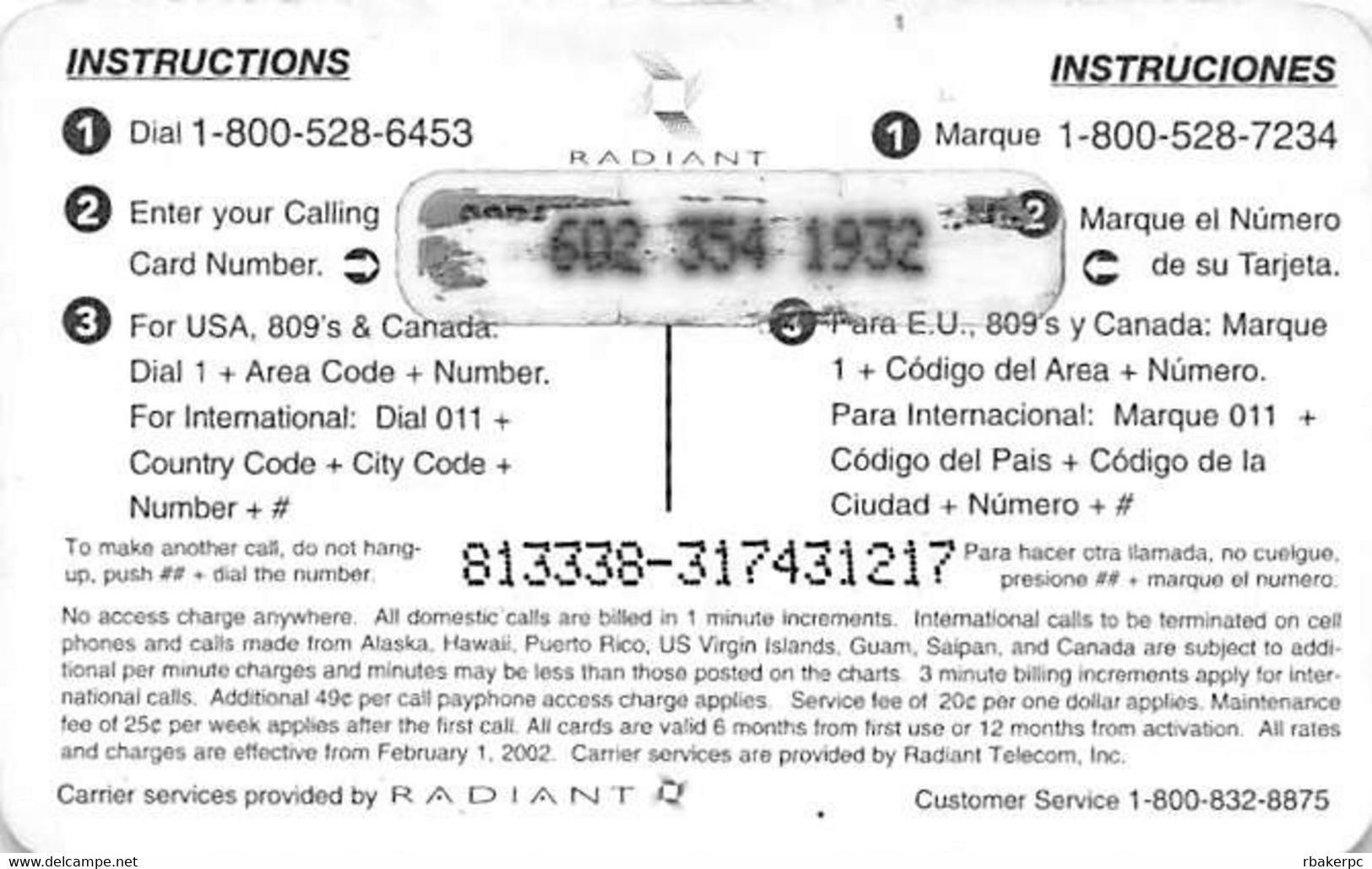 Radiant - No Surcharge USA $5 Phone Card - Telecom Operators