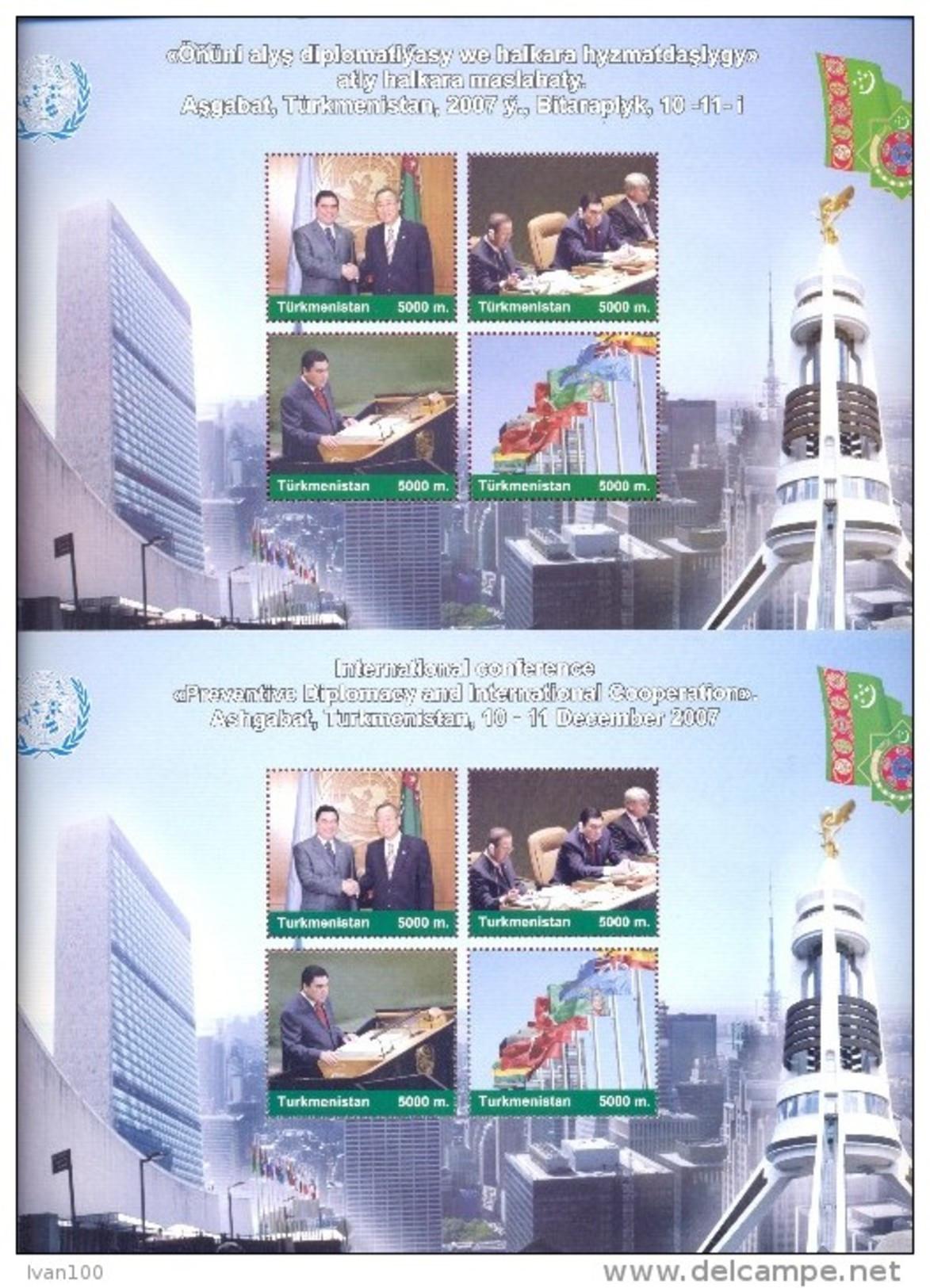 "2007. Turkmenistan, International Conference ""Preventive Diplomaty And International Cooperation, Mich.Bl.29/30, Mint/** - Turkmenistan"