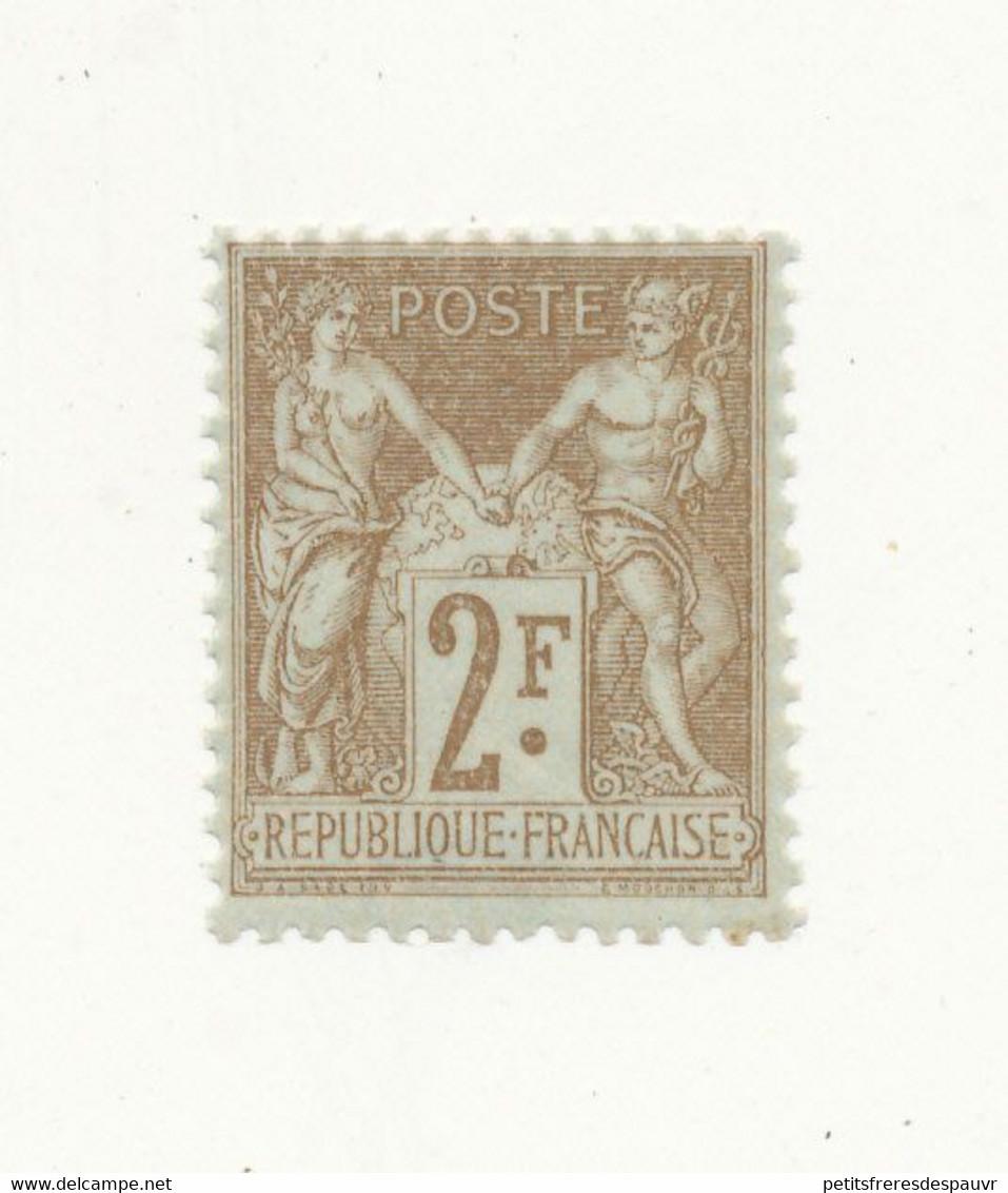 FRANCE 1900 - Sage 2 Fr Bistre Sur Azuré YT N° 105 ** Neuf Gomme Origine Sans Charnière Signé - COTE 400€ - Voir Scan - 1898-1900 Sage (Type III)
