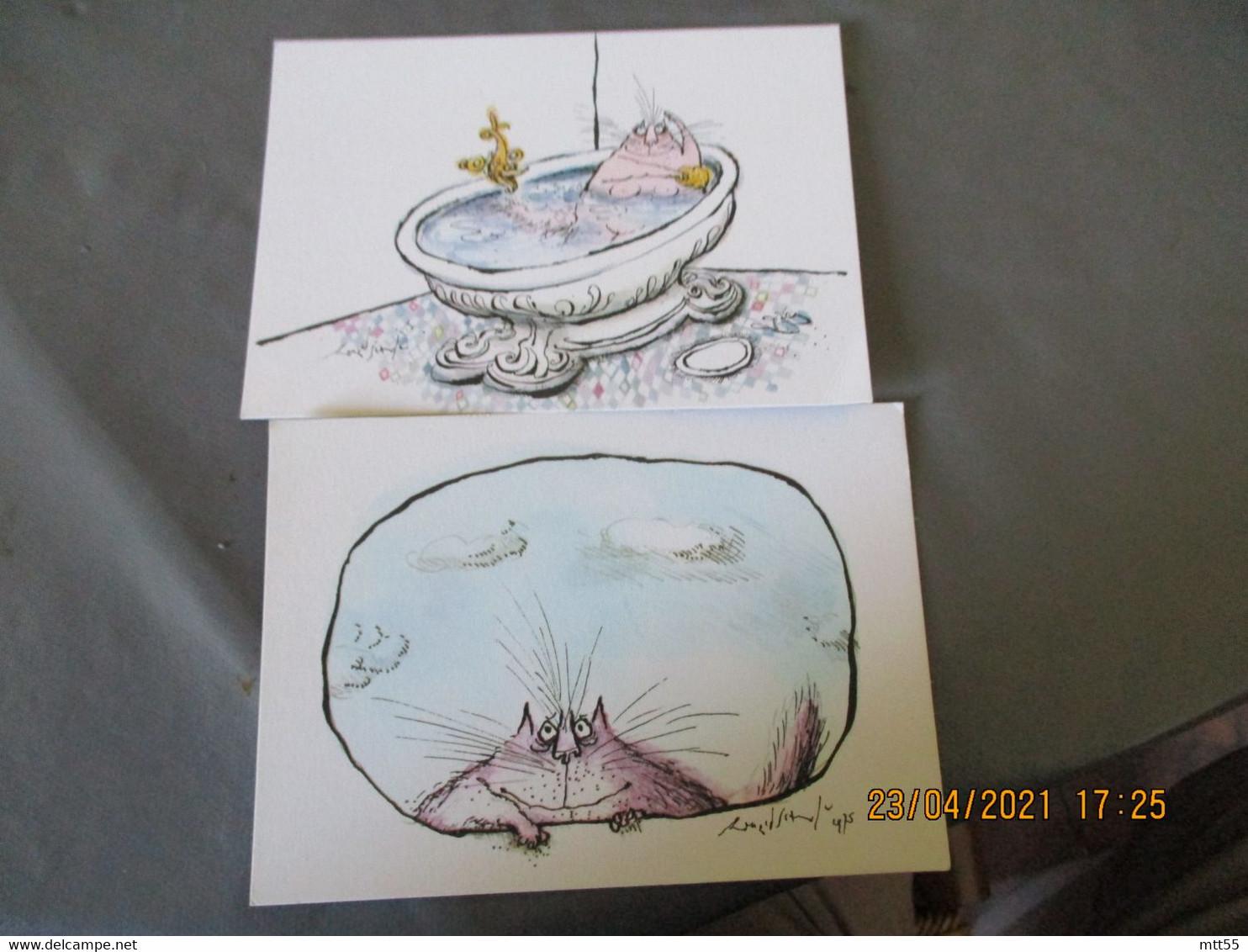 Chat Chats Lot De 12  Carte Illustrateur Edi Ronald Searle - Gatti