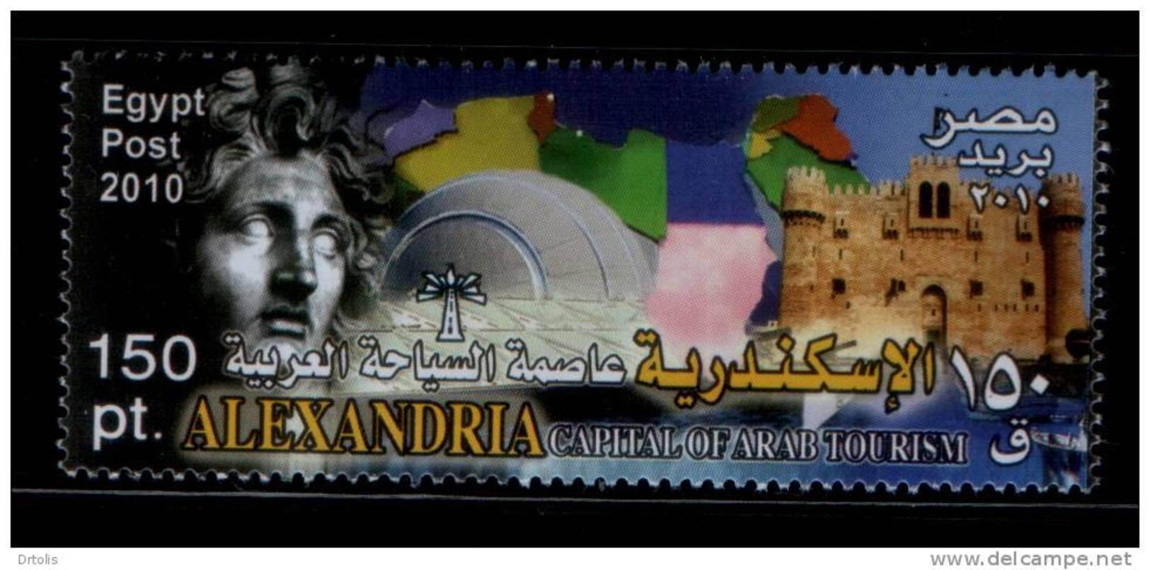 EGYPT / 2010 / ALEXANDRIA - CAPITAL FOR ARAB TOURISM / ALEX  LIGHTHOUSE- LIBRARY / MAP OF ARAB COUNTRIES / MNH / VF  . - Nuovi