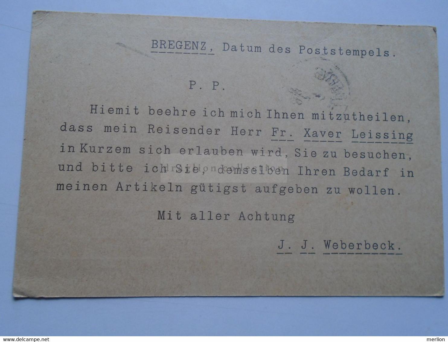 D178649 Österreich Ganzsache  1898  BREGENZ  J.J. Weberbeck      Sent To SULZBERG - Sin Clasificación