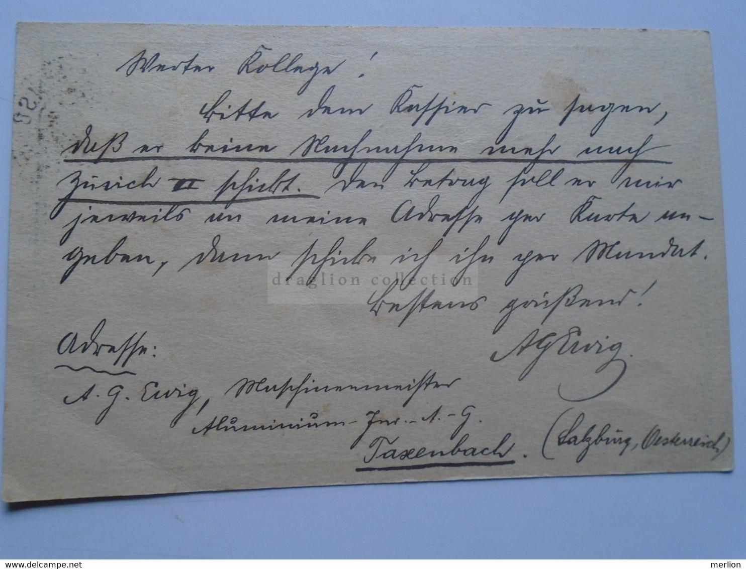 D178650 Österreich Ganzsache  1909   Taxenbach   Sent To BRUGG  (Aargau)  Schweiz  F. Wullschleger - Sin Clasificación