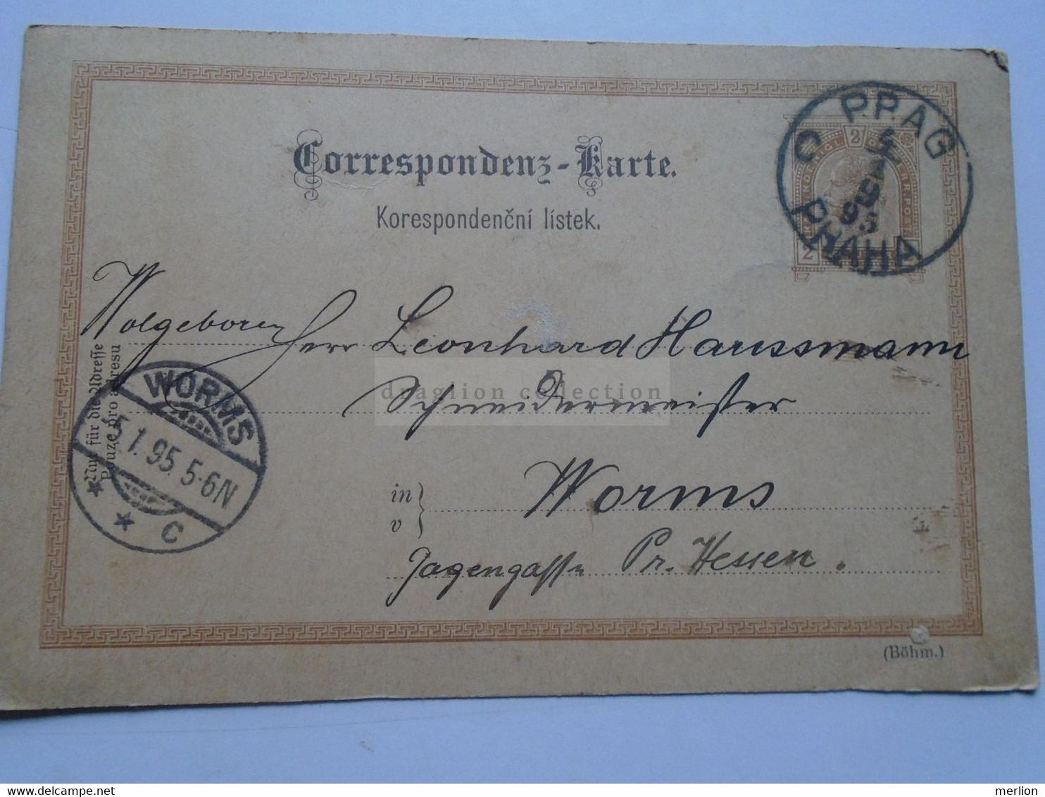 D178651  Österreich Ganzsache  1895    Prag Praha (Czechia)  Sent To Worms - Leonhard Hausmann - Sin Clasificación