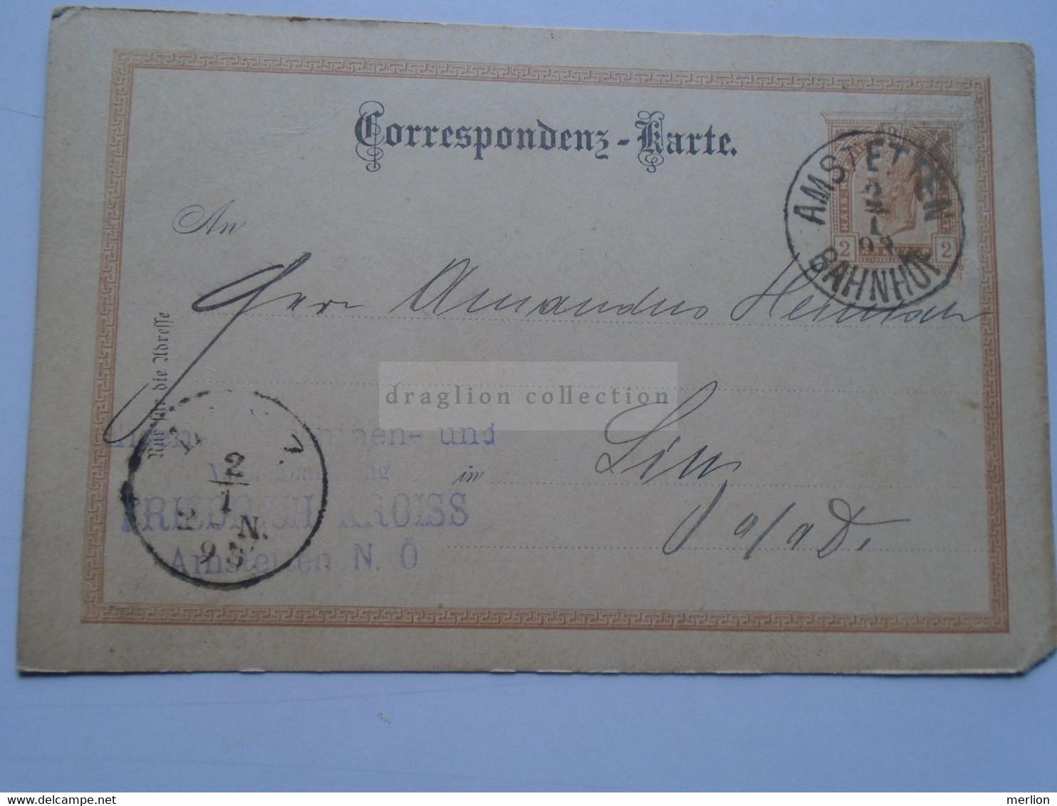 D178655    Österreich Ganzsache  1892 Amstetten / Bahnhof   Sent To LINZ - Sin Clasificación