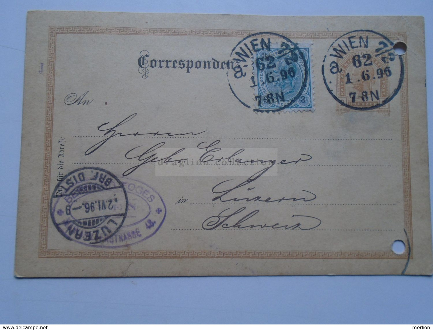 D178656     Österreich Ganzsache  1896   WIEN 7/2  Sent To LUZENR  Schweiz - Erlanger - Sin Clasificación
