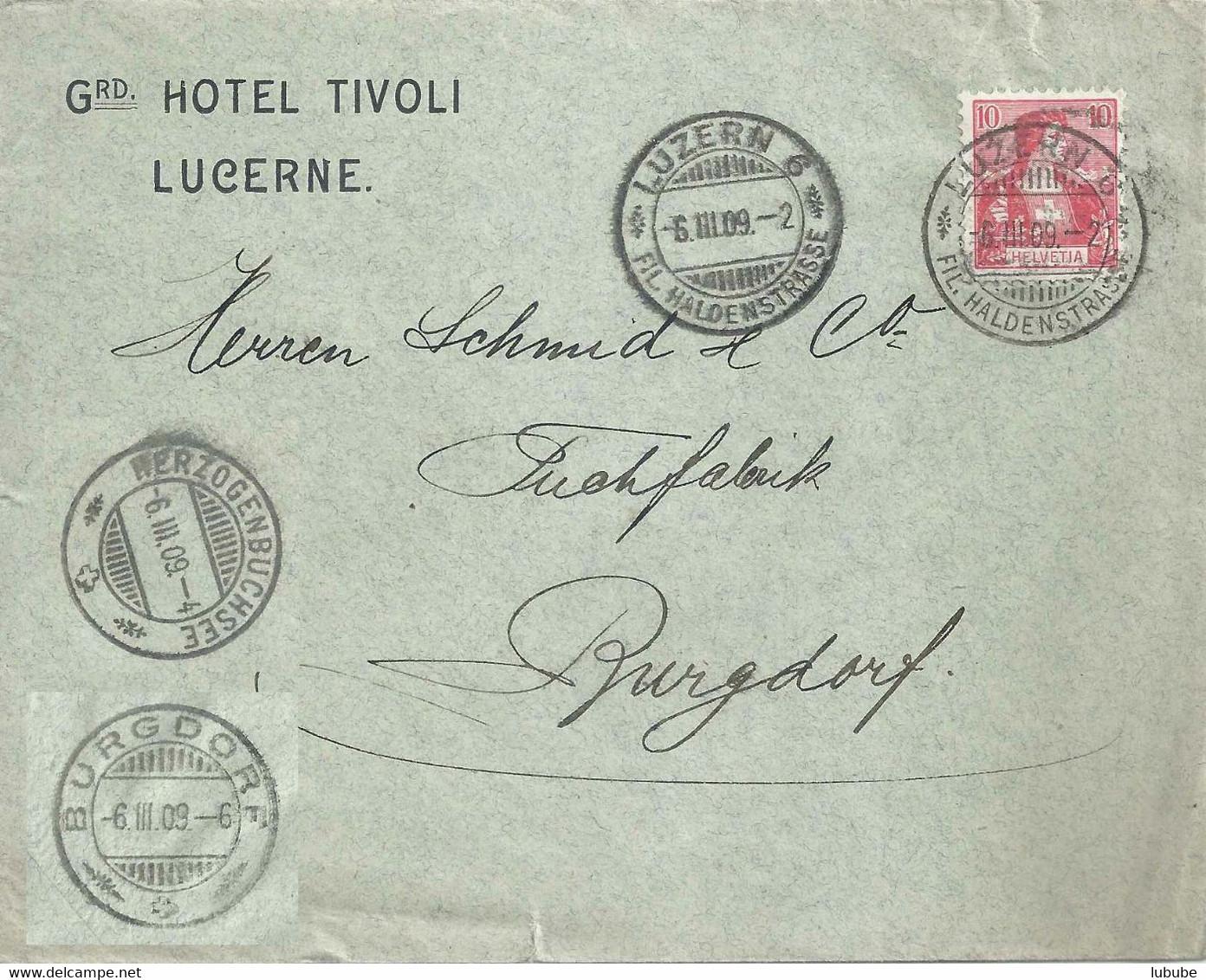"""Motiv Brief  """"Grd Hotel Tivoli, Lucerne""""             1909 - Brieven En Documenten"""