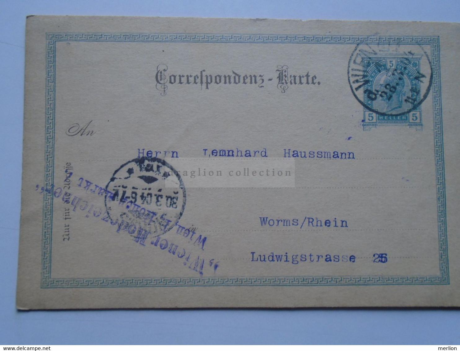 D178657   Österreich Ganzsache  1904    WIEN   Wiener Modezeichner Sent To  WORMS  Leonhard Haussmann - Sin Clasificación