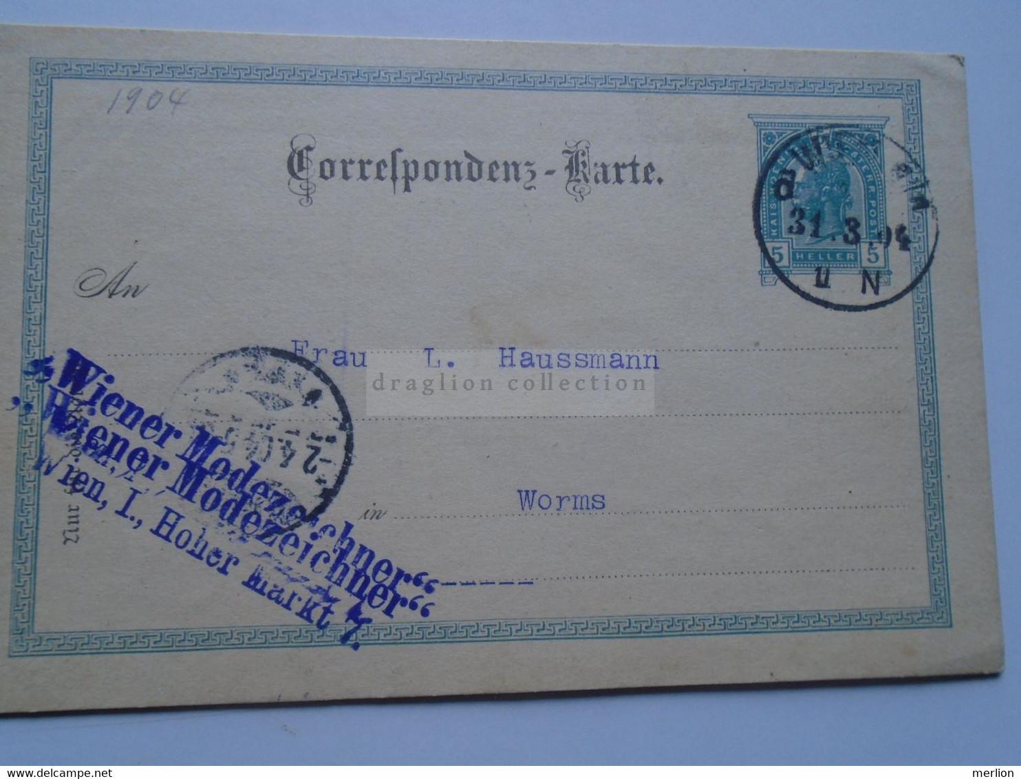D178659   Österreich Ganzsache  1904    WIEN   Wiener Modezeichner Sent To  WORMS  L. Haussmann - Sin Clasificación