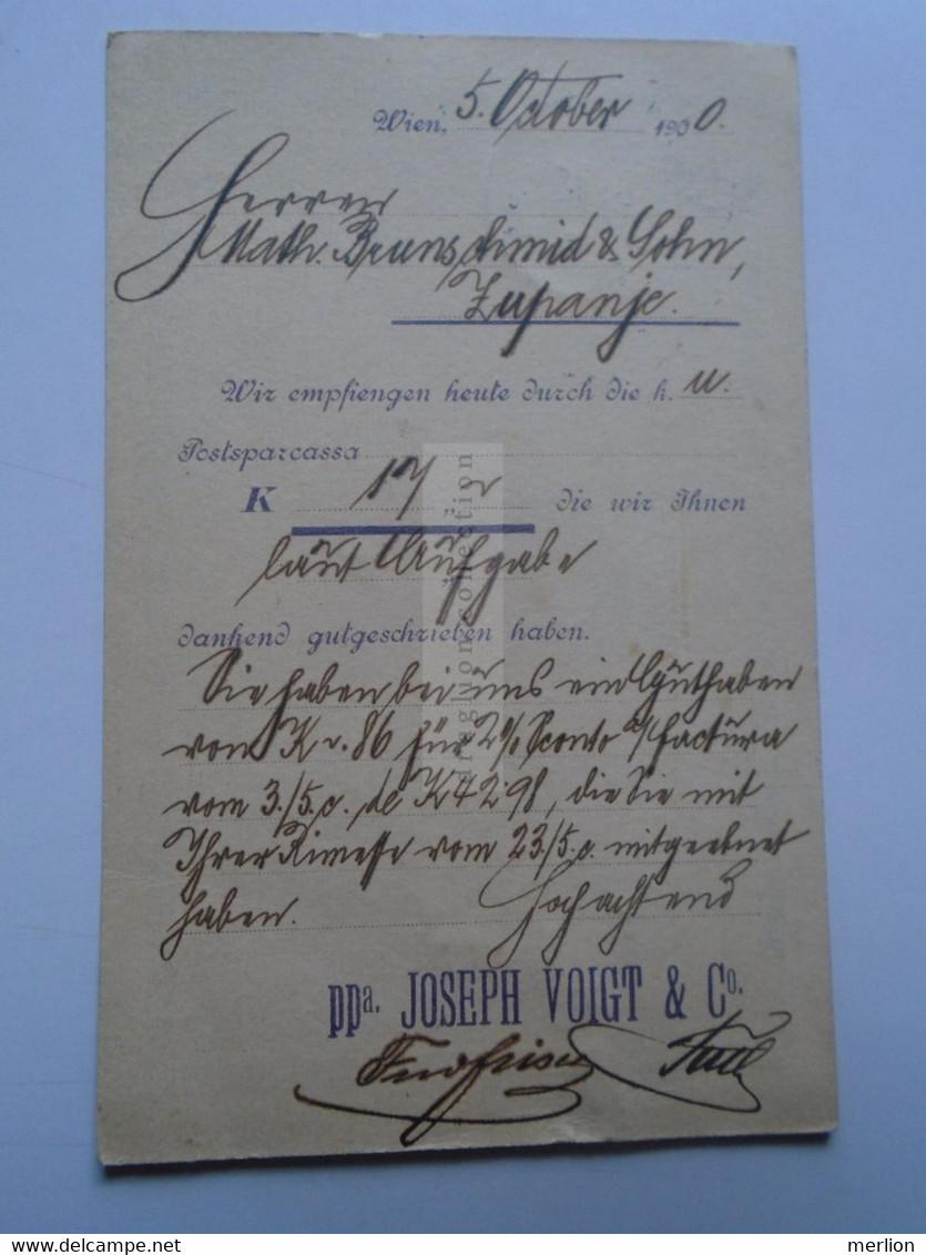 D178660   Österreich Ganzsache  1900  WIEN    Joseh Voigt & Cie.  Sent To Croatia  Županje  Zuppagne Math. Brunschmid - Sin Clasificación