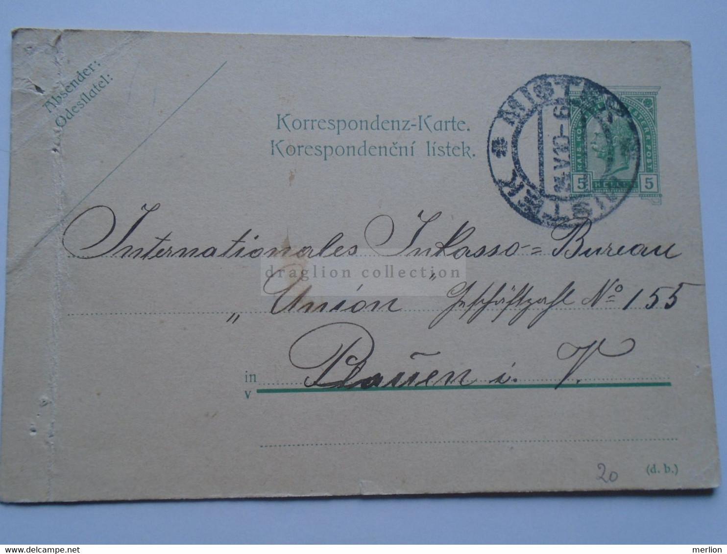 D178661 Österreich Ganzsache  1910  Místek (Czechia)   Sent To Plauen  I. V. - Sin Clasificación