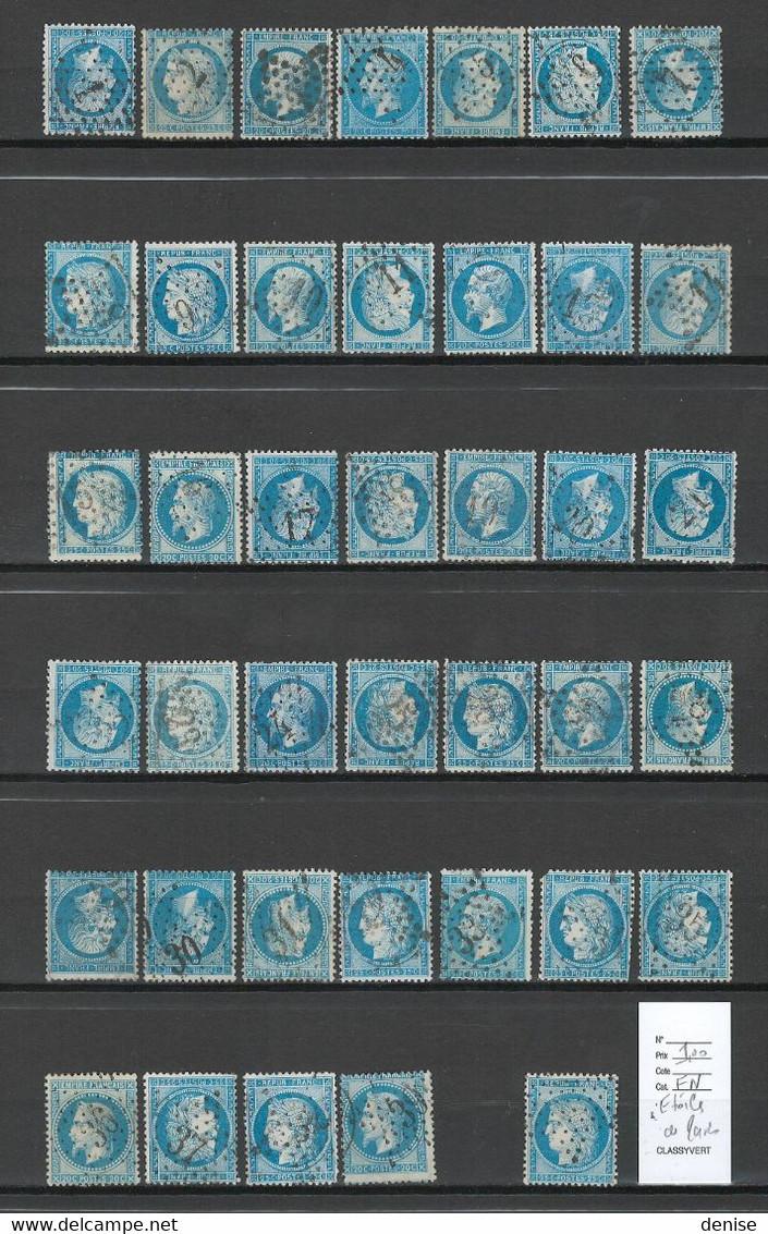 France - LES 39 ETOILES DE PARIS - DEPART 1 EURO - Sur Bleus De France - 1849-1876: Klassik