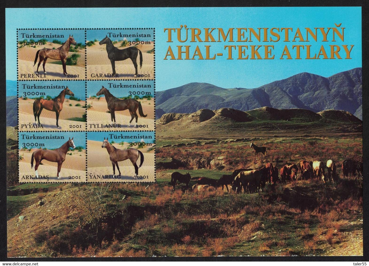 Turkmenistan Akhal-Teke Horses Sheetlet Of 6v 2001 MNH SG#101-106 MI#Block 9 CV£19.- - Turkmenistan