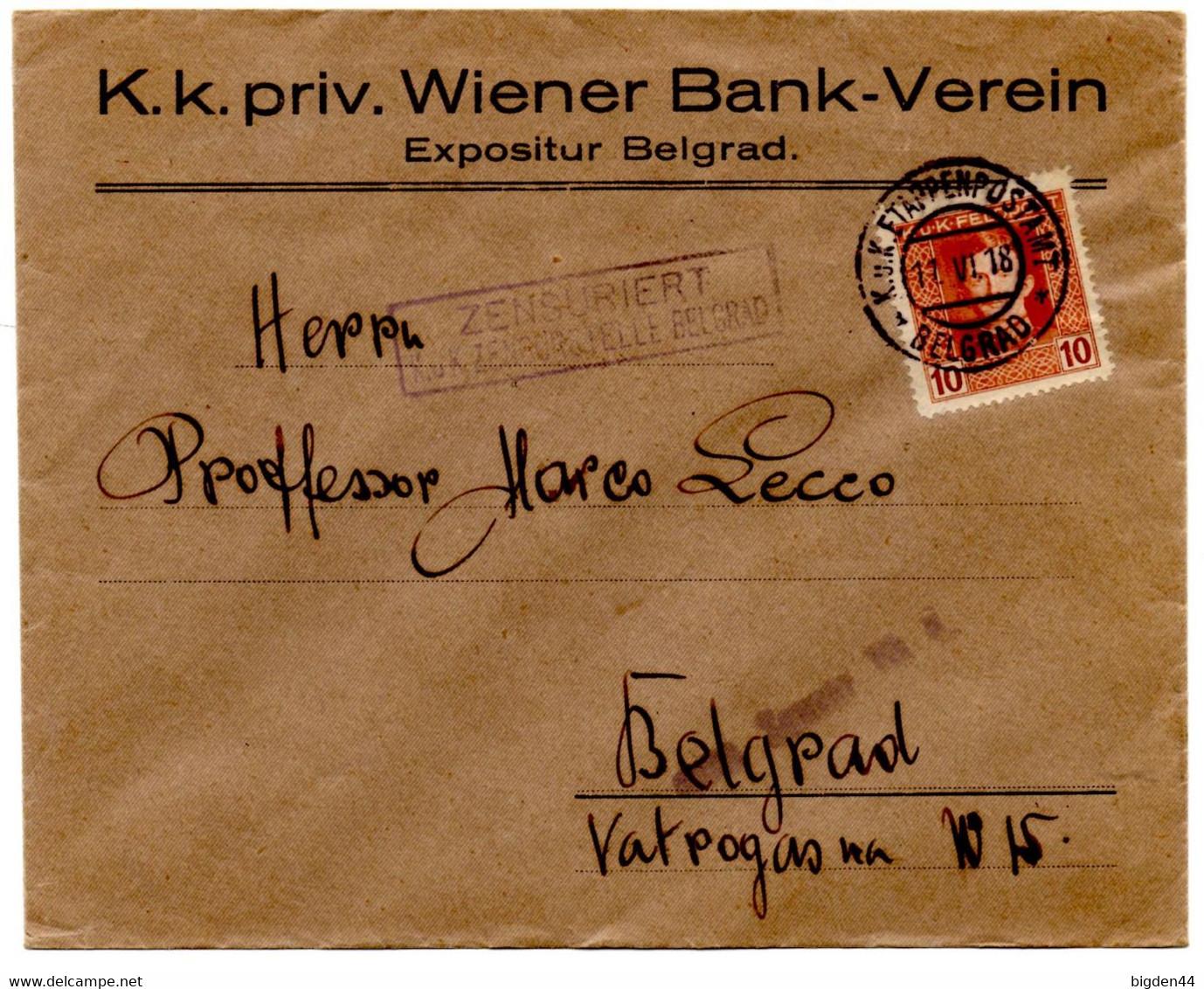 Lettre De Beograd Belgrade  (11.6.1918) Censure Etappenpostamt Occupation Autrichienne Serbie Zensuriert - Sin Clasificación