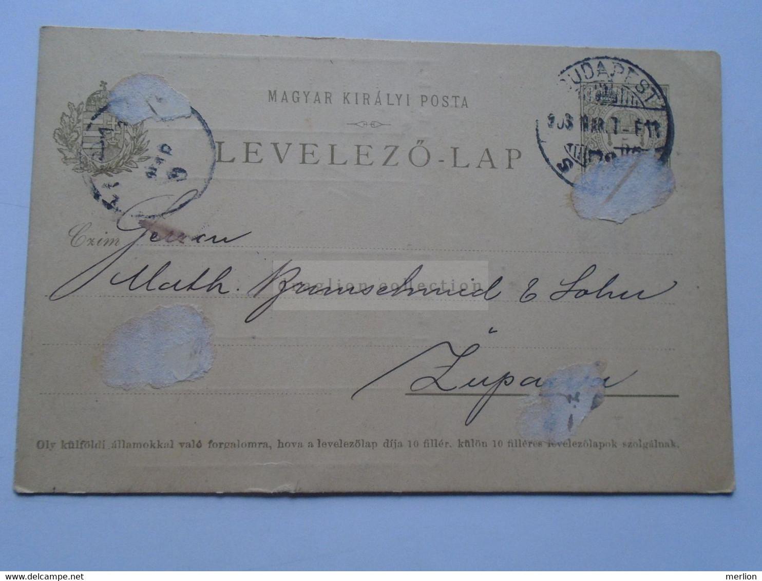 D178681  Hungary  Postal Stationery - 1903 Budapest  Edmund Mauthner Invoice On Backside To ZUPANJE Kroatien Croatia - Sin Clasificación