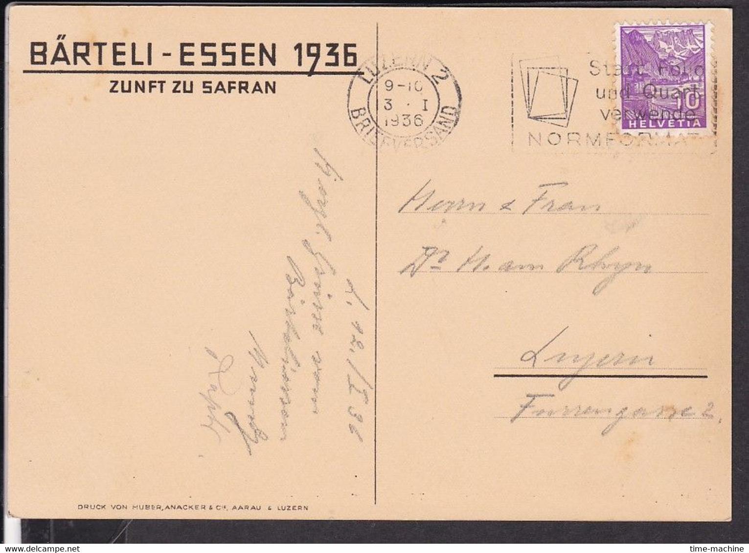 Künstlerpostkarte Luzern Zunft Zu Safran , Bärteli - Essen , Fasnacht  1936 - LU Lucerne