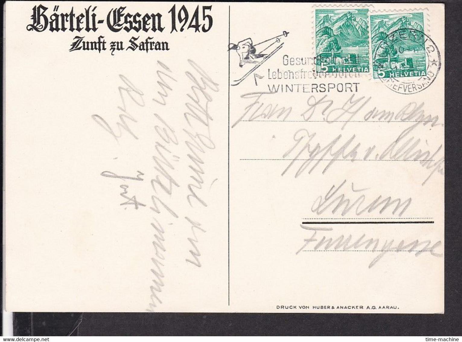 Künstlerpostkarte Luzern Zunft Zu Safran , Bärteli - Essen , Fasnacht  1945 - LU Lucerne