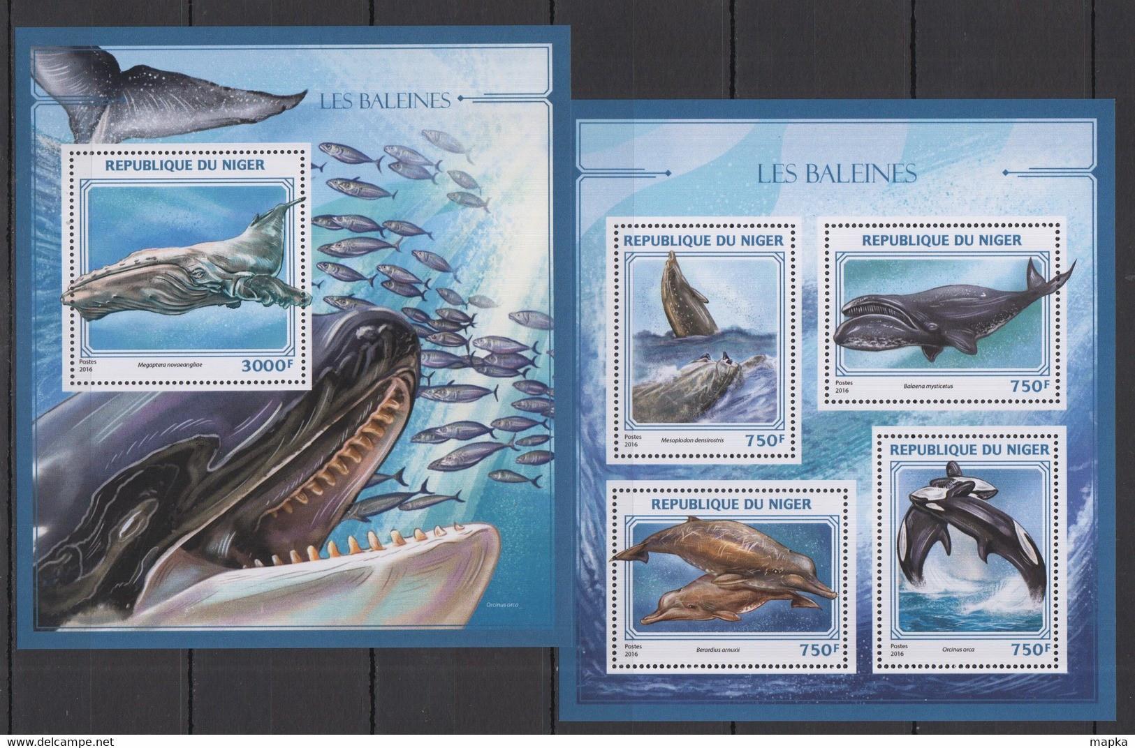 ST1888 2016 NIGER FAUNA FISH & MARINE LIFE LES BALEINES WHALES KB+BL MNH - Ballenas
