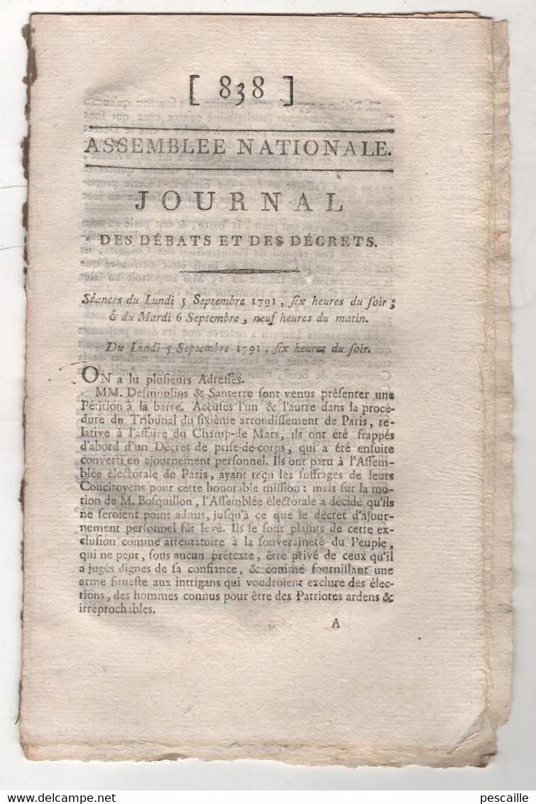 REVOLUTION FRANCAISE JOURNAL DES DEBATS 05 09 1791 - DESMOULINS & SANTERRE - 58e REGIMENT INFANTERIE - POSTES - PATURES - Newspapers - Before 1800