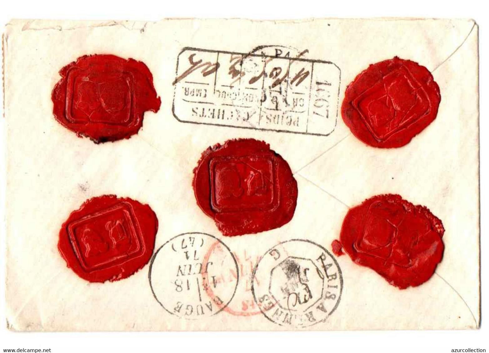 LETTRE CHARGE DE GODERVILLE . AFFRANCHISSEMENT DE 1871 AVEC 3 TIMBRES  NAPOLEON LAURE 80CTS + 1 A 20 CTS - 1849-1876: Classic Period