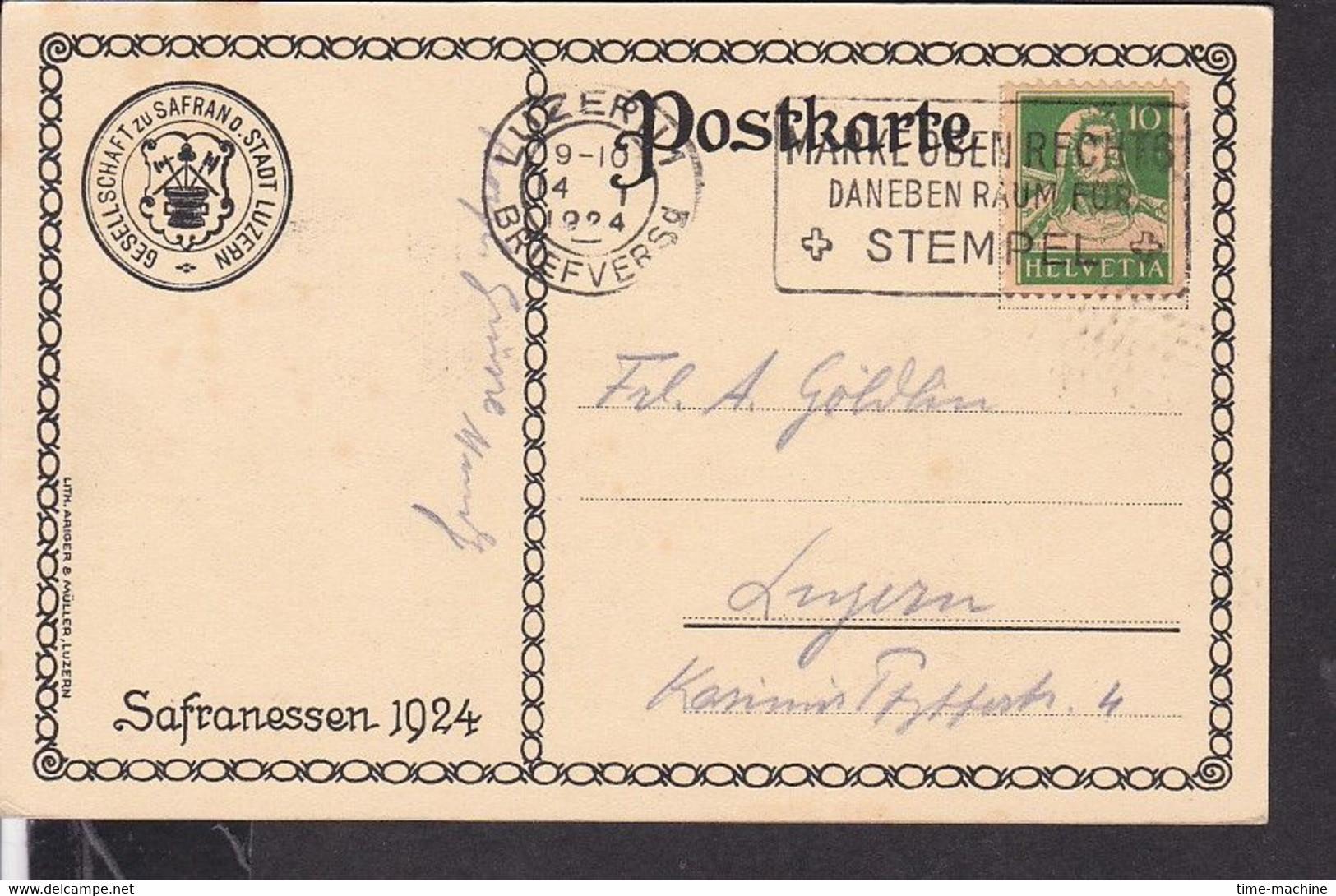 Künstlerpostkarte Luzern Safranessen    , Fasnacht  1924 - LU Lucerne