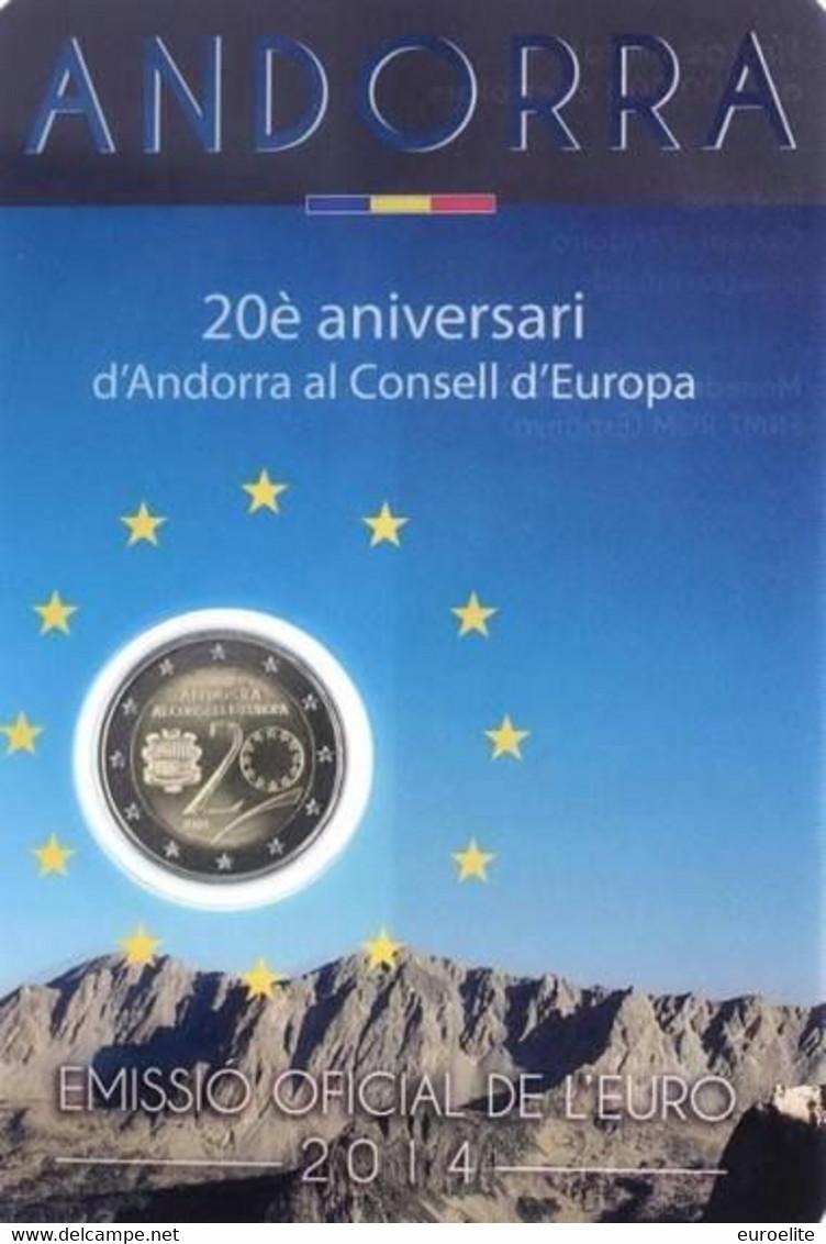 "2 € Commemorativi Andorra - 2014 - ""20° Anniv. Ingresso Di Andorra Nel Consiglio Europeo"" - Andorra"