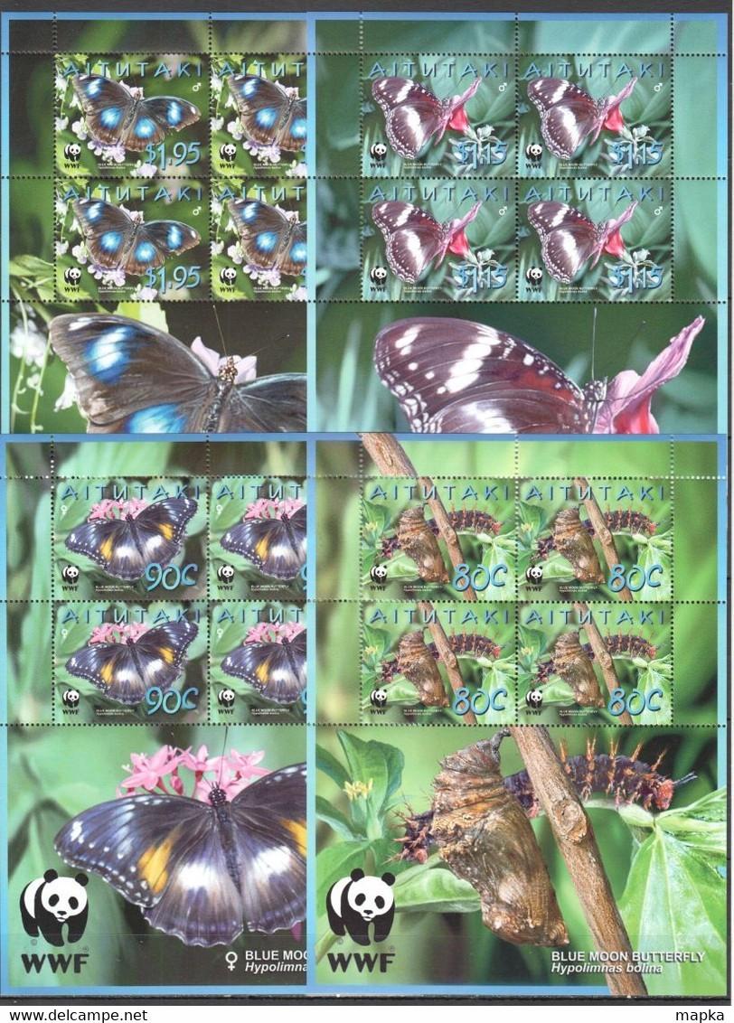 RR550 AITUTAKI FAUNA INSECTS BUTTERFLIES WWF BLUE MOON BUTTERFLIES !!! MICHEL 38 EURO !!! 4KB MNH - Otros