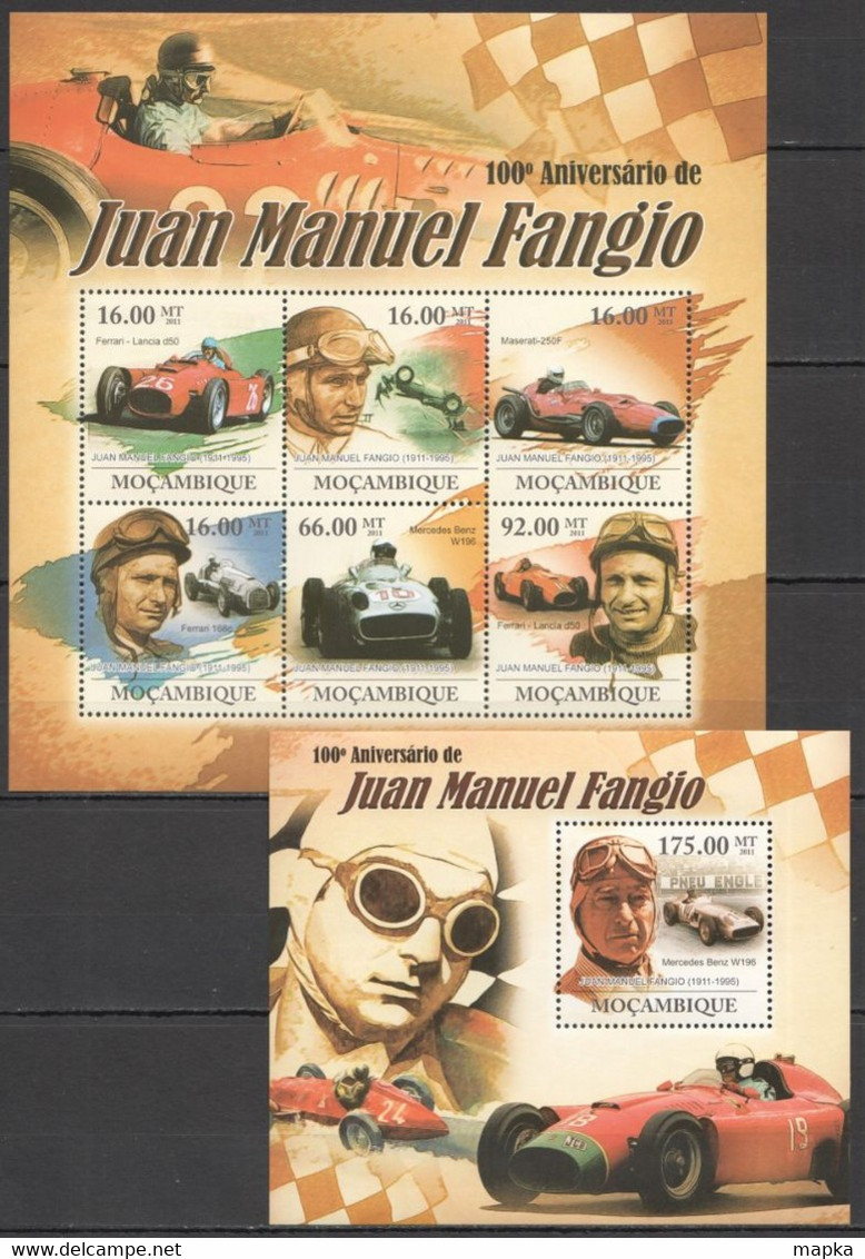TT274 !!! LAST ONE IN STOCK 2011 MOZAMBIQUE MOCAMBIQUE AUTO RACING 100TH ANNIVERSARY JUAN MANUEL FANGIO KB+BL MNH - Coches