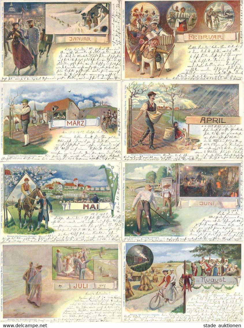 Monats-Karten 12'er Serie Hrsg. Tauscher, Otto Chemnitz 1902 Unterschiedliche Erhaltung I-II - Ohne Zuordnung
