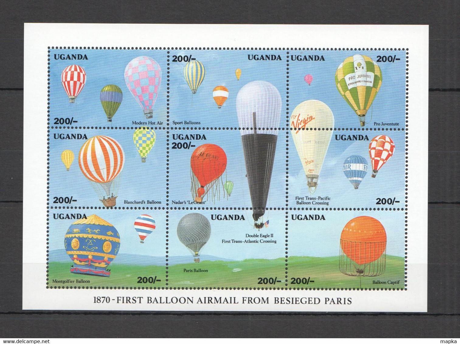 H019 UGANDA TRANSPORT AVIATION BALLOONS AIRMAIL FROM PARIS AIRSHIPS 1KB MNH - Montgolfier