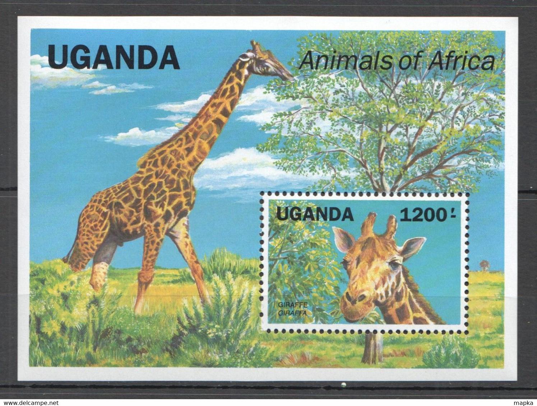 H040 UGANDA FAUNA WILD ANIMALS OF AFRICA GIRAFFES BL MNH - Jirafas