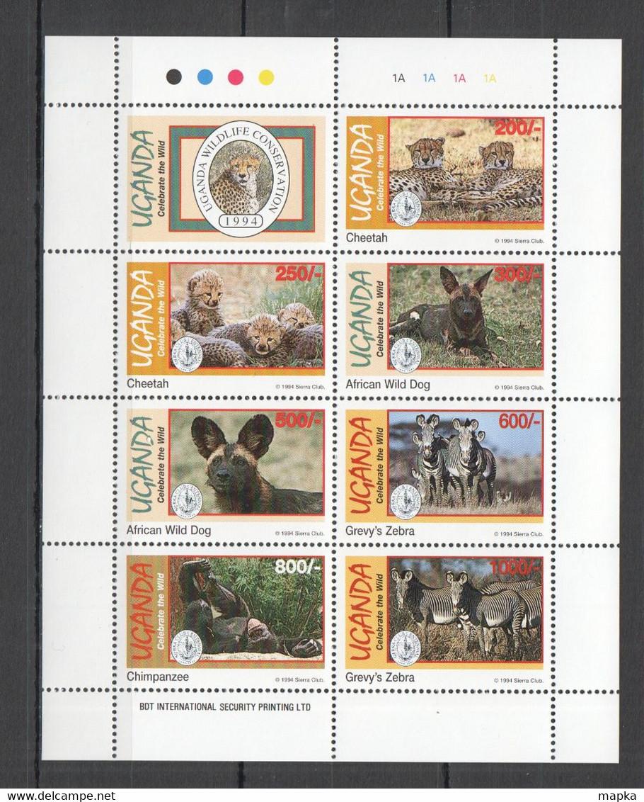 H044 1994 UGANDA ANIMALS WILD CATS & DOGS ZEBRA FAUNA CELEBRATE THE WILD KB MNH - Otros
