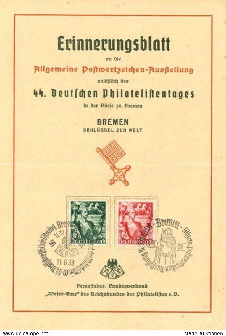 NS-GEDENKBLATT WK II - DINA5-Erinnerungsblatt 44.DEUTSCHER PHILATELISTENTAG BREMEN 1938 Mit S-o - Waager. Gefaltet! - Guerra 1939-45