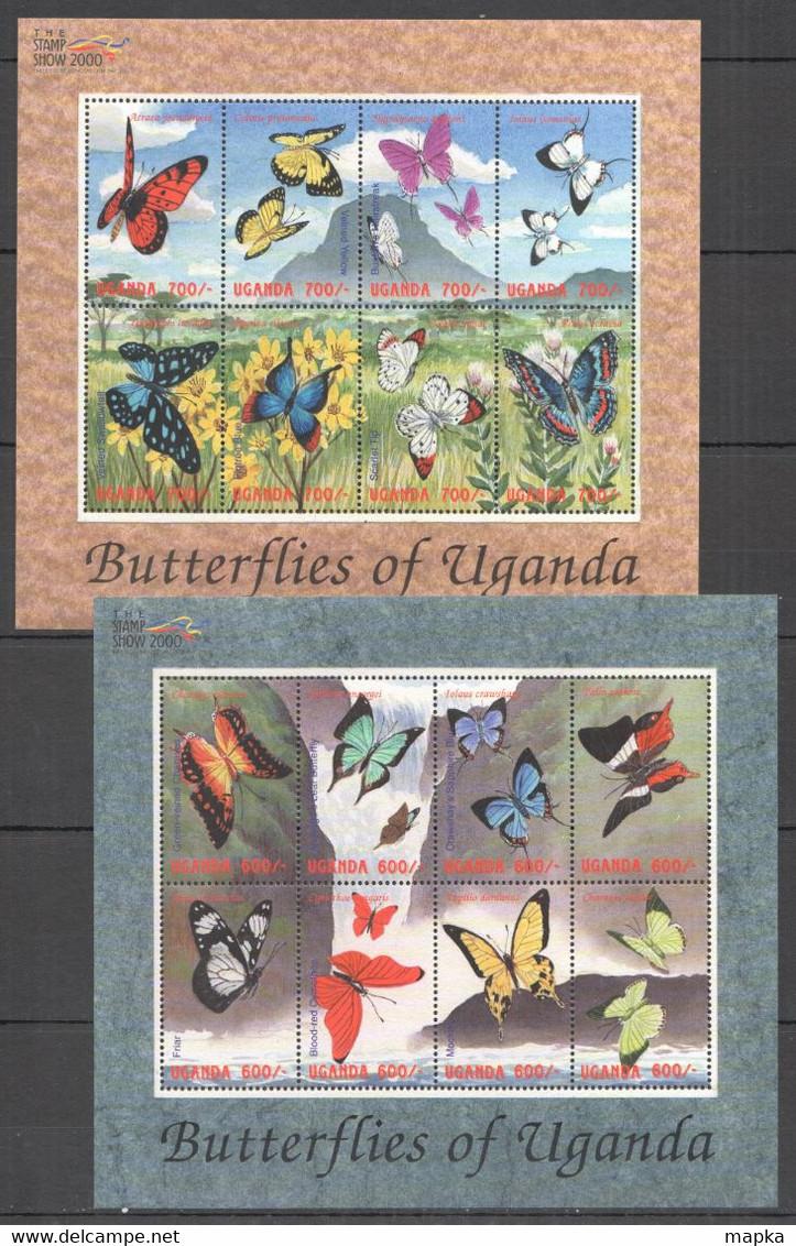H066 2000 UGANDA BUTTERFLIES  OF UGANDA FLORA & FAUNA !!! 2KB MNH - Mariposas