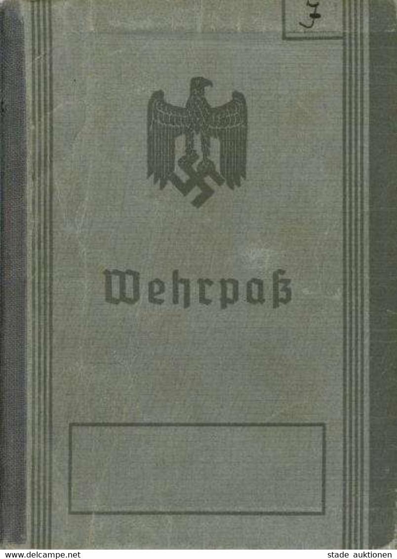 WK II Dokumente - WEHRPASS Greifswald1937 - Landes-Schützen-Batl. 262 - Schützen-Abzeichen - Eintrag EK II 1944 - Mit Li - Guerre 1939-45