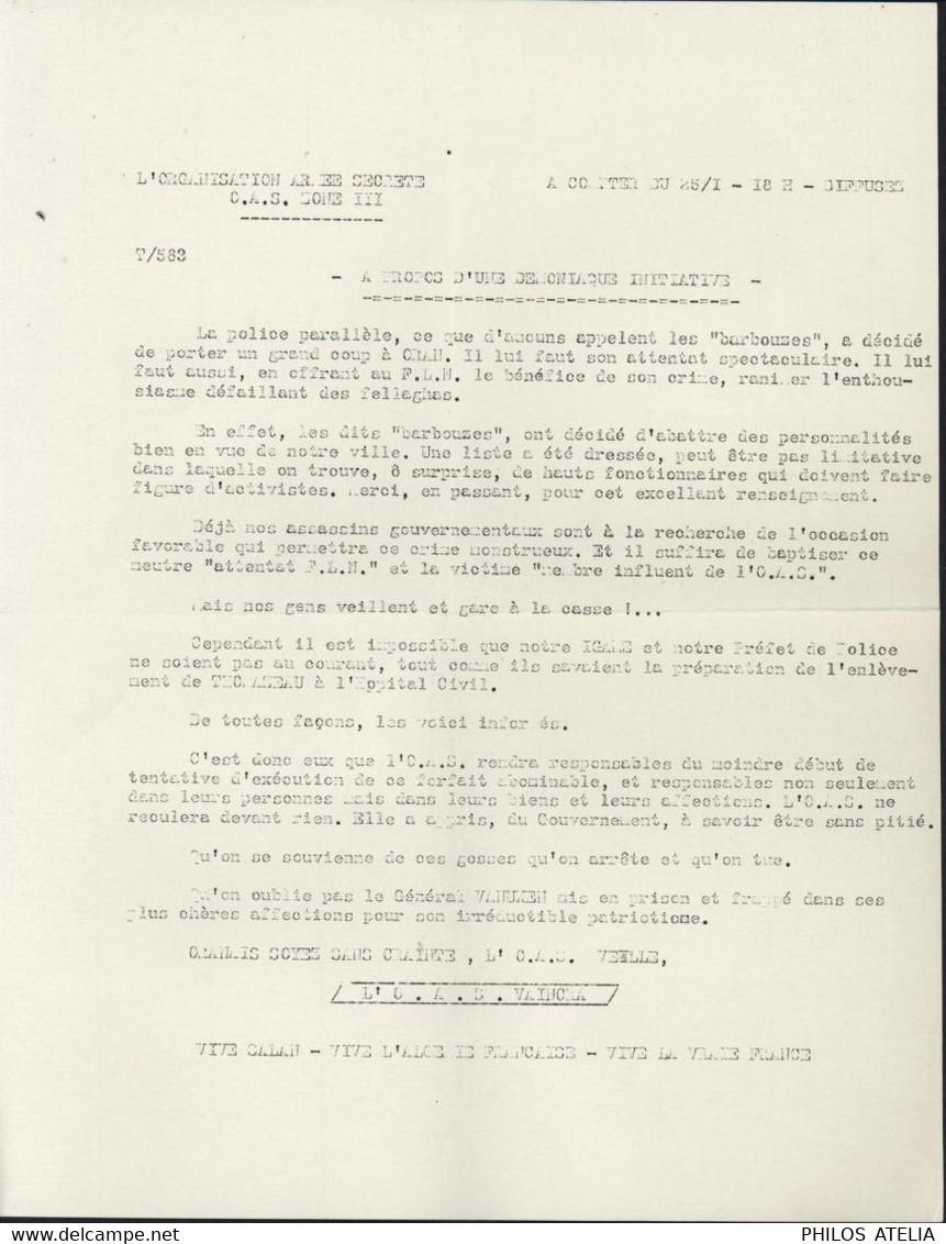 """Tract OAS Organisation Armée Secrète Guerre D'Algérie Sur """"Barbouzes"""" Aide Au F.N.L. Assassinat Personnalité Pro OAS - Historical Documents"""